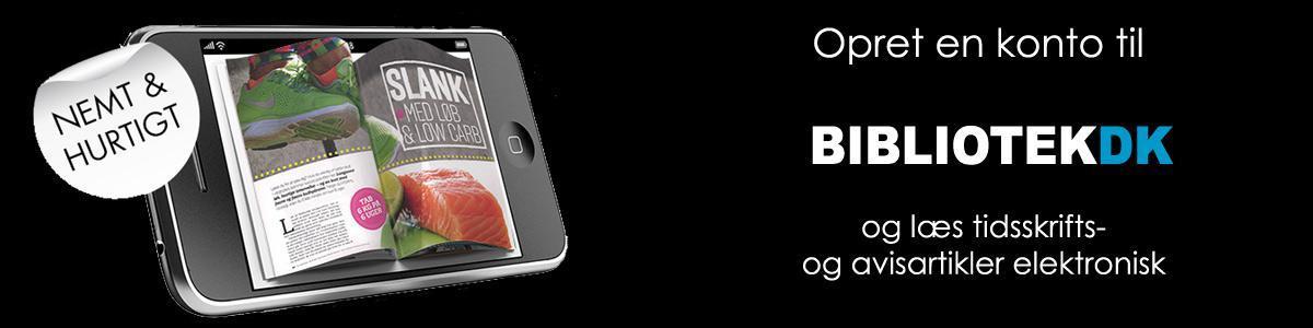 Viser en mobiltelefon med adgang til hjemmesiden bibliotek.dk