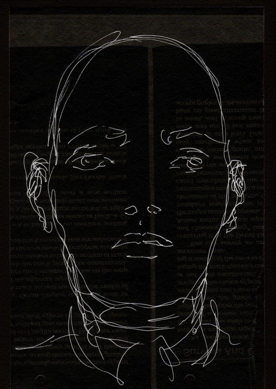 portrættegning af Mikkel Thykier som er brugt i hans bog