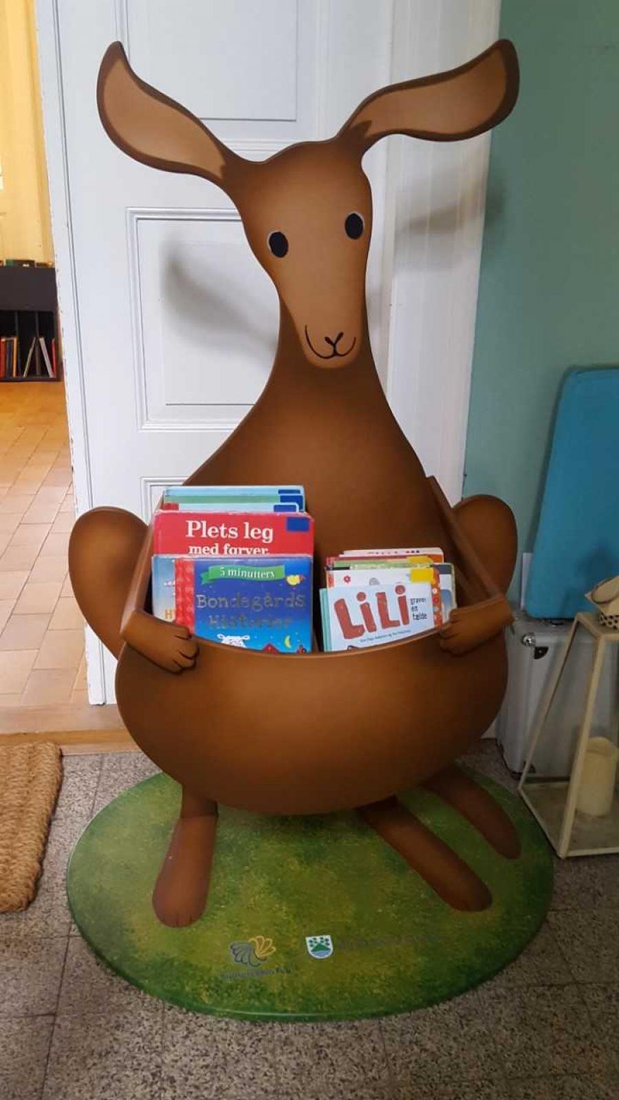 billede af bøger i kænguruens lomme